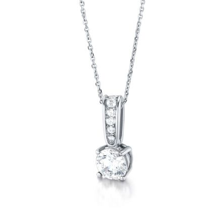 18ct White Gold  G, VS Diamond four claw pendant with round centre stone.
